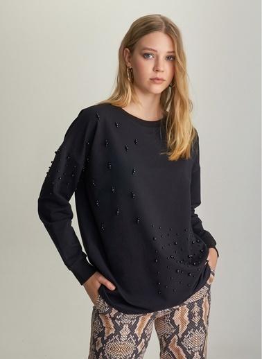 NGSTYLE İnci İşlemeli Sweatshirt Siyah